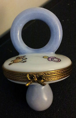 Limoges Blue Baby Soother Trinket Box!!!