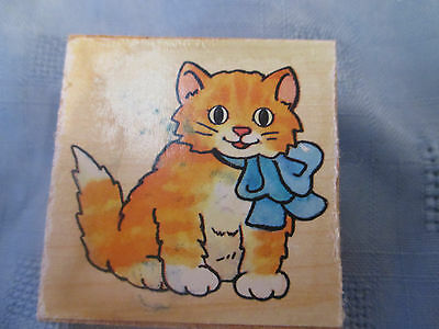 Cat With Bow Rubber Stamp