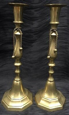 Vintage Antique Brass Pair Candlesticks With Ribbons Hollywood Regency