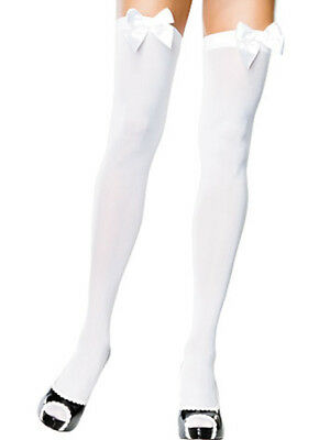 Leg Avenue Opaque WhiteThigh High Costume Stockings with White Bows - C144WH
