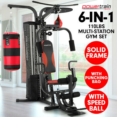 New Multistation Home Gym Exercise Equipment Total Workout Fitness Weights 110lb