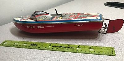 Vintage Tin Toy Speed Boat No 7 SAN Made in Japan - Read for Condition