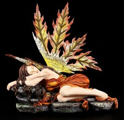 Autumn Elves Figurine - Asteria - Fairy Lying Down Fantasy Decor Orange