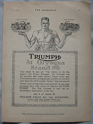 1919 Triumph Motorcycles Original advert