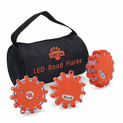 LED Road Flares Emergency Disc Red Safety Light Flashing Roadside Beacon for Car