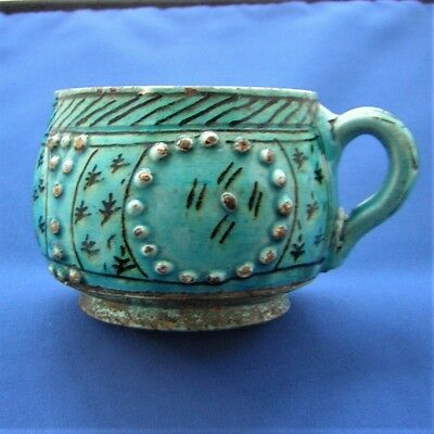 ANTIQUE RARE LARGE TURKISH KUTHAYA POTTERY CUP  19 Century - Damaged.