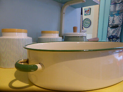 Vintage Green & Cream Enamel Large Oven Roasting Dish Pan Handles Kitchenalia