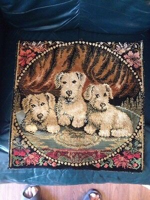 Antique Tapestry Pillow Cushion Cover Featuring Adorable Puppies