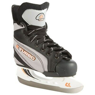 Xcess Turbo Adjustable Ice Skates - Hard Toe Cap in Black/Grey UK Size 2-3