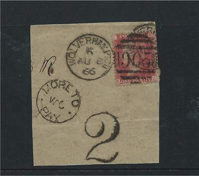 GB 1866 1d Red Pl.95 on Piece with Wolverhampton 905 Duplex + More to Pay Cachet