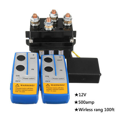 12V 500A HD Contactor Winch Control Solenoid Twin Wireless Remote Recovery 4x4
