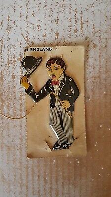 Vintage CHARLIE CHAPLIN Flat Tin Litho made in England 1930's lapel pin toy