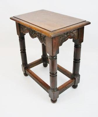 Early 20th c carved Oak joint stool, carved rails and  good colour