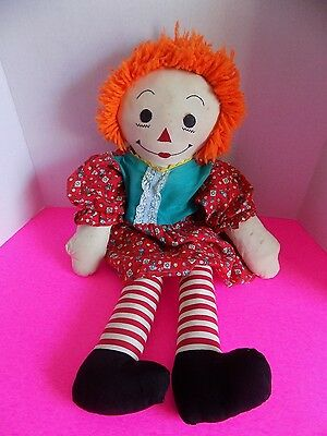 Raggedy Anne Handmade Homemade Doll 24 Inches Large Sized Vintage