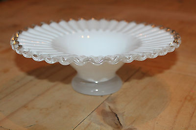 Vintage Ruffled White Serving Bowl on Stand Beautiful! Milk Glass ? Retro