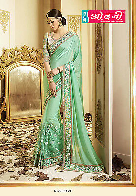Indian Bollywood Exclusive Green Chiffon Net Party Wear Designer Wedding Saree