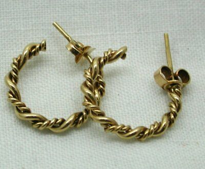 Very Nice Quality Pair Of 9 Carat Gold Small Twist Hoop Earrings