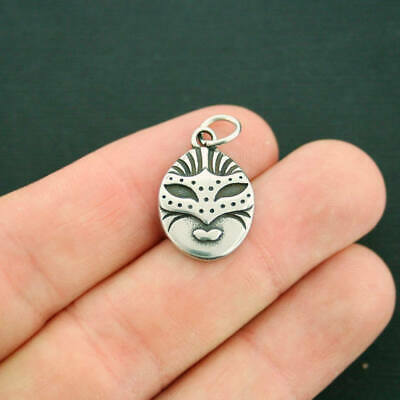 Masquerade Mask Charm Antique Silver Tone Stainless Steel With Jump Ring - MT587