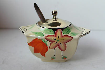 Lancaster & Sons English Ware Jam Preserve Pot & Silver Plate Lid & Spoon Rare