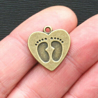 6 Baby Feet Charms Antique Bronze Tone in Lovely Heart - BC866