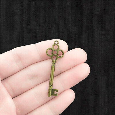 6 Large Key Charms Antique Bronze Tone Classic Shape Two Sided - BC550
