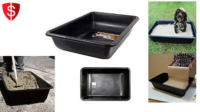 Concrete Mixing Tub Pan Large Jobsite Heavy-Duty Tray Gallon PVC Cement Black