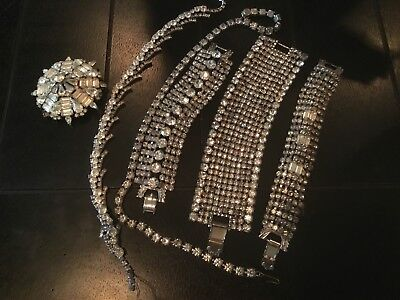 Gorgeous Rhinestone necklaces, bracelets and paste brooch lot Art Deco jewelry
