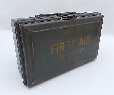 Vintage BELL SYSTEM Metal FIRST AID KIT Box with Hinged Lid (EMPTY) Telephone