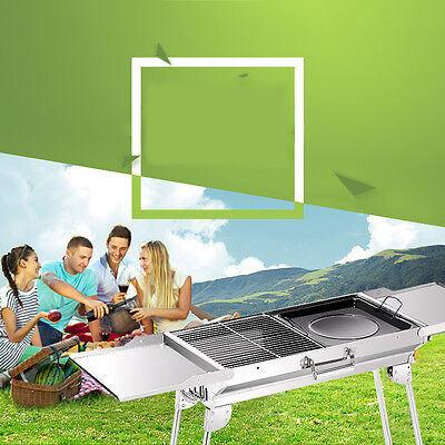 Foldable BBQ Barbecue Flat Pack Portable Camping Outdoor Garden Grill.