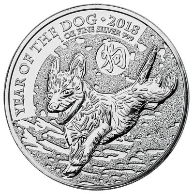 2018 Great Britain Year of the Dog 1 oz Silver Lunar £2 Coin BU In Caps SKU49502