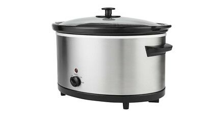 5.5L Stainless Steel Electric Slow Cooker - Family Size 3 Heat Settings 270 W