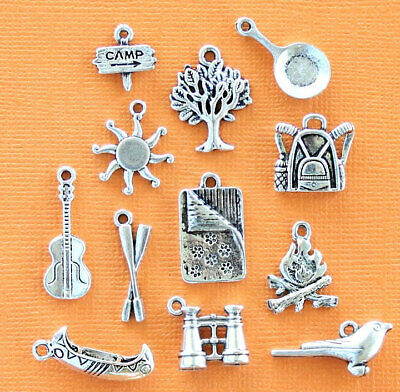Camping Charm Collection Antique Silver Tone 12 Different Charms - COL191