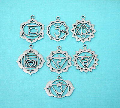 Chakra Charm Collection Antique Silver Tone 7 Different Charms - COL047