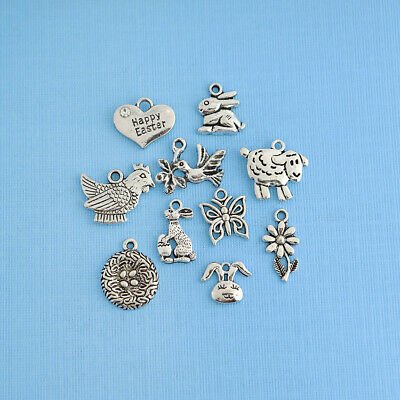Easter Charm Collection Antique Silver Tone 10 Charms - COL043