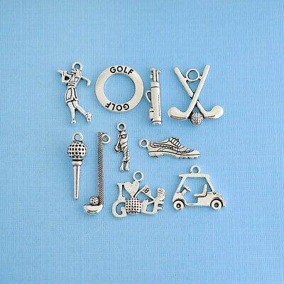 Golf Charm Collection Antique Silver Tone 9 Charms - COL040