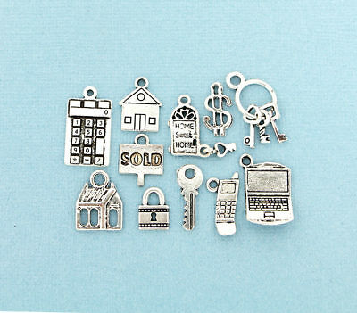 Realtor Charm Collection Antique Silver Tone 11 Different Charms - COL124