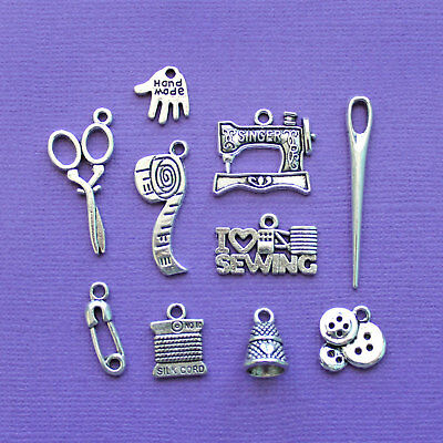 Sewing Charm Collection Antique Silver Tone 10 Different Charms - COL002