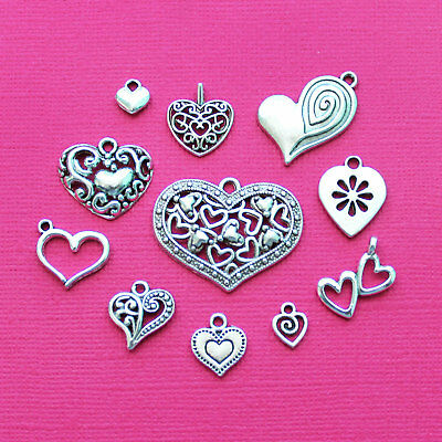 Heart Charm Collection Antique Silver Tone 11 Different Charms - COL008