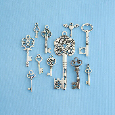Key Charm Collection Antique Silver Tone 11 Different Charms - COL011