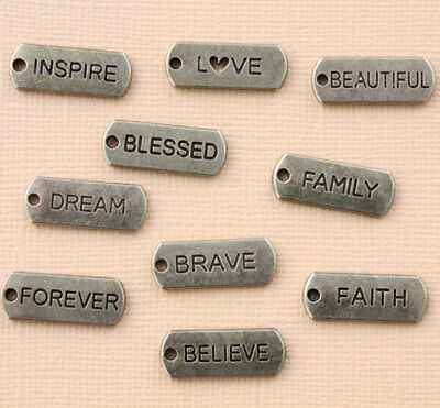 Word Charm Collection Antique Bronze Tone 10 Different Charms - COL313