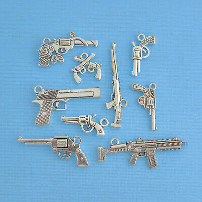 Gun Charm Collection Antique Silver Tone 9 Different Charms - COL133