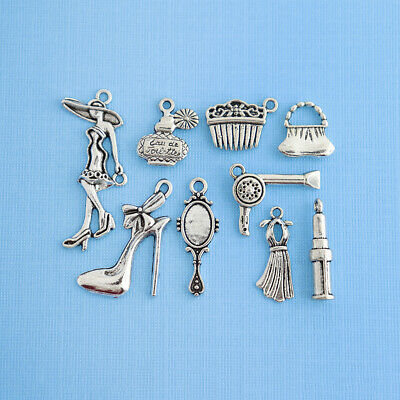 School Charm Collection Antique Silver Tone 9 Different Charms COL073