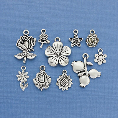 Flower Charm Collection Antique Silver Tone 10 Different Charms - COL083