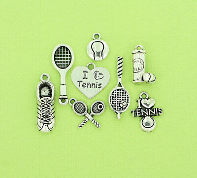Tennis Charm Collection Antique Silver Tone 8 Different Charms - COL086