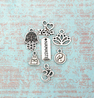 Yoga Charm Collection Antique Silver Tone 7 Different Charms - COL126
