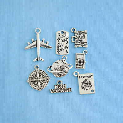 Travel Charm Collection Antique Silver Tone 8 Charms - COL061
