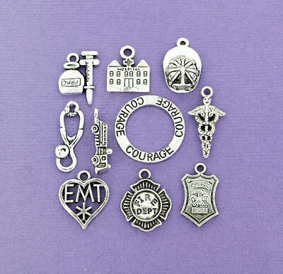 First Responders Charm Collection Antique Silver Tone 10 Charms - COL096