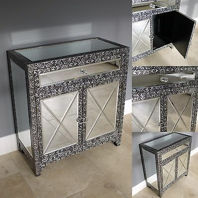 Blackened Silver Embossed Mirrored Sideboard / Cabinet Console