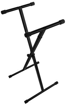 On-Stage Single X 5-Position Disk Clutch w/ Bullet Nose Pull Knob Keyboard Stand