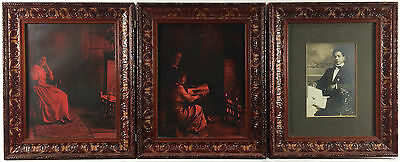 Antique Carved Tri-Fold Wooden Frame Red Toned Filipino Family Portrait Photos